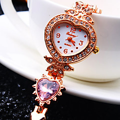 kvinnors lyx trend rund diamant hjärtmönster ratten diamant hjärta formar band mode kvarts armband klocka