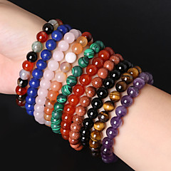 Beadia 1Pc 8mm Round Stone Elastic Strand Bracelet 10 Colors U-Pick