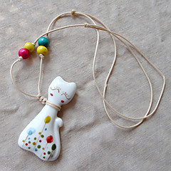 Cute Multicolor Ceramic / Wood Necklace random Pattern Pendant Necklaces Party / Daily / Casual 1pc
