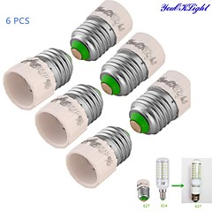 youoklight® 6 stk E27 Til E14 Lys Lampe Pære Adapter Konverter - Sølv + Hvid