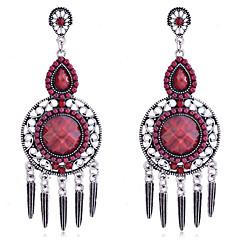 European Style Retro Resin Gem Hollow Out Tassels Alloy Drop Earrings