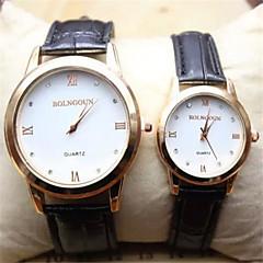 שעון יד של קוורץ עיצוב פשוט להקת pu של בני זוג (צבעים שונים)