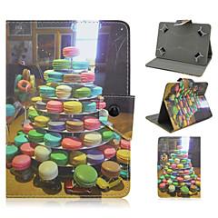 koekjes patroon van hoge kwaliteit pu lederen case met standaard voor 7 inch universele tablet