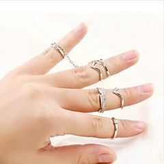 Ring Fashion Party Jewelry Brass Women Midi Rings 1set,One Size Gold / Silver
