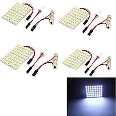 youoklight® 4stk t10 8W 500lm 48 x SMD 5050 førte hvidt lys guirlande bil læselys / panel lys - (DC12V)