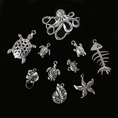 Beadia Antique Silver Metal Charm Pendants Starfish Conch Tortoise Octopus &Manta Ray DIY Jewelry Pendant