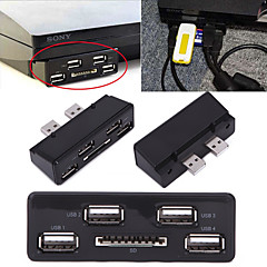 4-Port USB Extension Expansion Multi Media Hub with SD Flash Card Slot for Sony Playstation 3 PS3 Slim Gaming Consoles