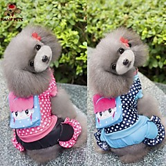 Dog Coat Clothes/Jumpsuit Blue Rose Dog Clothes Winter Spring/Fall Polka Dots Casual/Daily