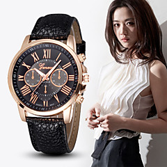 horloges vrouwen rose goud geval luxemerk rome stijl lederen riemen mode toevallige quartz horloge