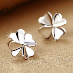 2016 Korean Unisex 925 Silver Sterling Silver Jewelry Zircon Earrings Lucky Clover Stud Earrings 1Pair