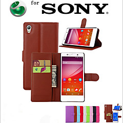 För Sony-fodral / Xperia Z5 Plånbok / Korthållare / med stativ / Lucka fodral Heltäckande fodral Enfärgat Hårt PU-läder för SonySony