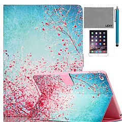 LEXY® Sky Red Floral Pattern PU Leather Flip Stand Case with Screen Protector and Stylus for iPad Air 2/iPad 6