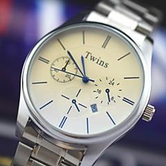 L.WEST Men's Steel Belt Analog Blue Glass Quartz Watch Wrist Watch Cool Watch Unique Watch Fashion Watch