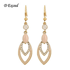 D Exceed Women Pink Acrylic Stone Rhinestone Chandelier Earrings for Girls Long Dangling Hollow Out Drop Jewelry