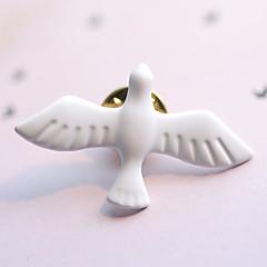 Avrupa tarzı moda vintage metal sanat taze beyaz barış güvercin broş (tek)