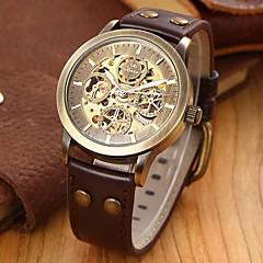 Hommes Bracelet Montre Remontage automatique Gravure ajourée Cuir Bande Noir / Marron Marque- SHENHUA