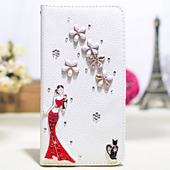 Handmade Diamond The Lady In Red PU Leather Full Body Case with Kickstand for Samsung Galaxy Note 2/3/4/5