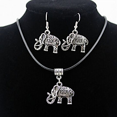 Elephant Animal Pendant Silver Necklace & Earrings Jewelry Set