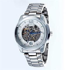 Hommes Bracelet Montre Remontage automatique Acier Inoxydable Bande Blanc Marque-