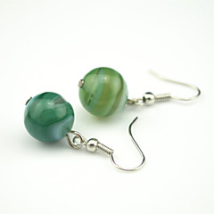 Vintage Look Antique Silver Plated Round Natural Agate Stone Beads Drop Dangle Earring(1Pair)