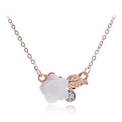 Korean Sweet  Shell Rose Pendant Gold Plating Necklace