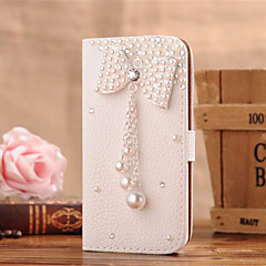 Handmade Diamond Pearl Bowknot PU Leather Full Body Case with Kickstand for Samsung Galaxy S3/S4/S5/S6/S6 Edge