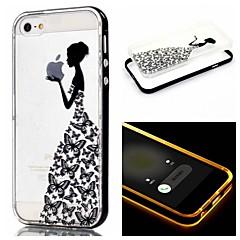 Mert iPhone 5 tok LED zseblámpa / Átlátszó / Minta Case Hátlap Case Apple logo Puha TPU iPhone SE/5s/5