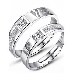 White Silver Rhinestone Couple Adjusted Rings