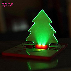 5Pcs Portable Pocket LED Card Light Lamp Put In Purse Wallet Christmas Tree Shape(5-Pack,Ship With Ramdon Color)