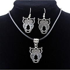 Owl Pendant Silver Necklace & Earrings Jewelry Set