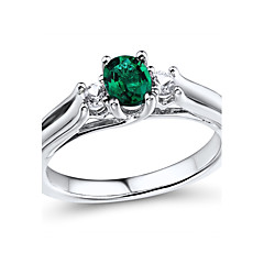 Women's Classic Sterling Silver set with Created Emerald and Created White Sapphire Ring