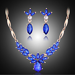 MISSING U Vintage / Party Rose Gold Plated / Alloy / Rhinestone / Gemstone & Crystal Necklace / Earrings Jewelry Sets