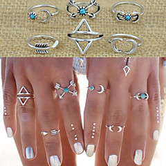 Midi Rings Alloy Love Fashion Statement Jewelry Silver Jewelry Wedding Party Gift Daily Casual Valentine 1set