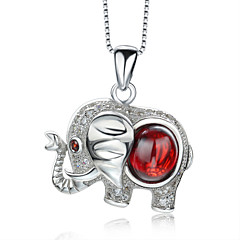 Jazlyn® Platinum Plated 925 Sterling Silver Wine Red Hollow Calf Elephant Animal Pendant Women's Girl's Necklace