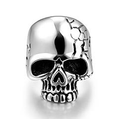 individuo de la moda anillo de acero inoxidable de secado al horno cráneo barniz no de los hombres de piedra decorativa (negro) (1 unidad)