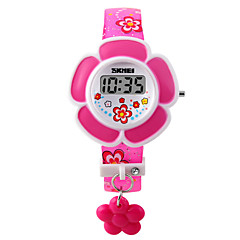 Barn Modeklocka Armbandsklocka Digital LED PU Band Rosa Lila Purpur Rosa