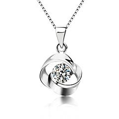 Lureme®Korean  Fashion  Joker 925  Sterling Silver    Crystal Circle Of Love Pendant Necklace