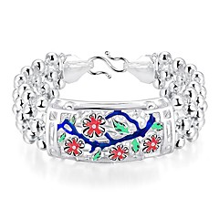 Generous Ethnic Style Women's Plum Blossom  Brass Silver Plated ID Bracelet(Silver)(1Pc)