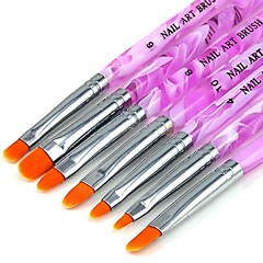 1 Set (7 pcs) New UV Gel Acrylic Nail Art Builder Brush Pen Painting