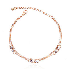 Korean Delicate Rhinestones Double Chain Anklet Christmas Gifts