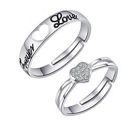 Pierścionki Ślub / Impreza / Codzienny Biżuteria Srebro standardowe Damskie / Męskie / Para Pierścionki dla par 2pcs,Regulacja Srebrne