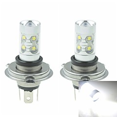 2 x H4 P43T  50W 10xCREE Cold White Red Yellow 3100LM 6500K for Car Fog Light (AC/DC12V-24)