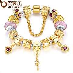 European Style  Silver Crystal Charm Bracelet for Women  Glass Beads DIY Jewelry