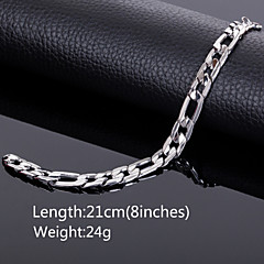 Men's 18k Silver Plated 10mm Width 8 Inches (21cm)Titanium Steel Chain Bracelet