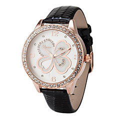 Women's Fashion Clover Round Dial Leather Band Quartz Analog Wrist Watch(Assorted Color) Cool Watches Unique Watches