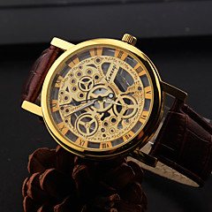 Fashion Style Hollow Shape Alloy Leather Watch For Men's(Four Colors)(1Pc) Wrist Watch Cool Watch Unique Watch