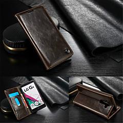 Mert LG tok Pénztárca / Kártyatartó / Állvánnyal / Flip Case Teljes védelem Case Egyszínű Kemény Valódi bőr LG LG G4