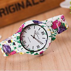 Dames Modieus horloge Kwarts Hars Band Bloem Wit Wit Geel