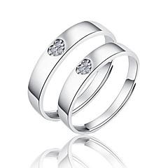Ringen Bruiloft / Feest / Dagelijks Sieraden Sterling zilver Dames / Heren / Echtpaar Ringen voor stelletjes 2 stuks,Verstelbaar Zilver