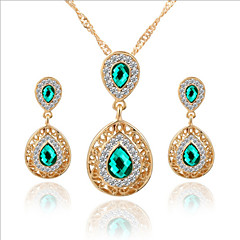 Lucky Doll Women's All Matching Luxury Gem Rose Gold Plated Zirconia Water Drop Necklace & Earrings Jewelry Sets